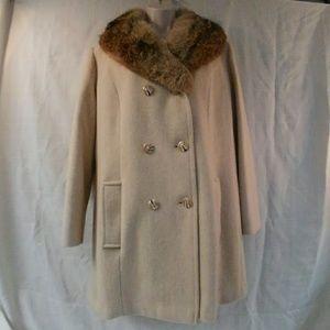 Vintage Rabbit Fur Collar Wool Coat